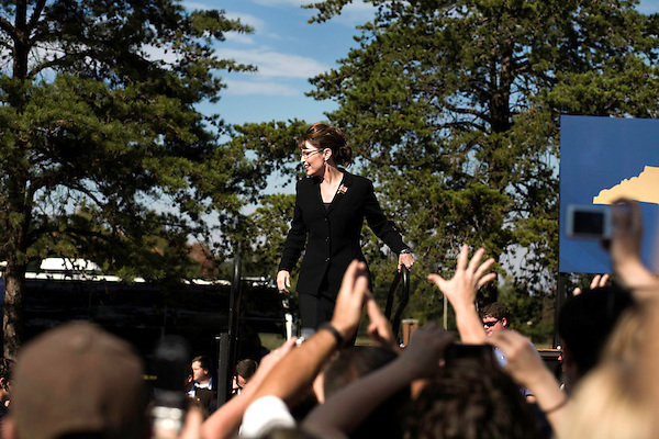 October 16, 2008. Elon, North Carolina..  As the presidential race in North Carolina tightens, Republican Vice presidential candidate, Governor Sarah Palin,  spoke at Elon University to a crowd of thousands of supporters.