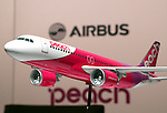 November 18, 2016, Tokyo, Japan - A scale model of Airbus A320  is displayed as Japan's budget airline Peach Aviation will buy 13 aircrafts of Airbus A320 at a press conference in Tokyo on Friday, November 18, 2016. Peach will purchase 3 A320 ceo aircrafts in 2018 and will receive the first A320 neo in 2019 from the Airbus.   (Photo by Yoshio Tsunoda/AFLO) LWX -ytd-