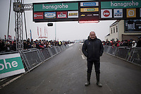Belgian CX legend Roland Liboton who won EVERY national CX title in the 80'ies (10!) + 4 elite CX World Championships  at the start of the Superprestige Noordzeecross <br /> <br /> Middelkerke / Belgium 2017