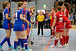 GER - Mannheim, Germany, December 19: During the 1. Bundesliga Sued Damen indoor hockey match between Mannheimer HC (blue) and Nuernberger HTC (red) on December 19, 2015 at Irma-Roechling-Halle in Mannheim, Germany. Final score 8-2 (HT 3-2). (Photo by Dirk Markgraf / www.265-images.com) *** Local caption ***