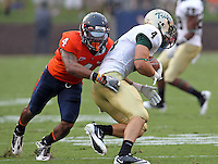 Sept. 3, 2011 - Charlottesville, Virginia - USA; Virginia Cavaliers safety Rodney McLeod (4) tackles William & Mary Tribe wide receiver D.J. Mangas (4) during an NCAA football game at Scott Stadium. Virginia won 40-3. (Credit Image: © Andrew Shurtleff