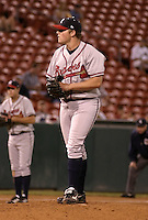 September 15, 2004:  Pitcher Macay McBride of the Richmond Braves, Triple-A International League affiliate of the Atlanta Braves, during a game at Dunn Tire Park in Buffalo, NY.  Photo by:  Mike Janes/Four Seam Images