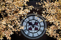 Welcome Center MState clock with fall leaves<br />  (photo by Megan Bean / &copy; Mississippi State University)