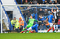 Alex Lacey of Gillingham right celebrates as he sees his shot hit the net for the second Gillingham  goal during Portsmouth vs Gillingham, Sky Bet EFL League 1 Football at Fratton Park on 6th October 2018
