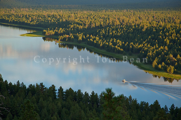 Boating on Upper Lake Mary viewed from rim of Anderson Mesa, summer in Coconino National Forest, south of Flagstaff, Arizona, TomBean_Pix_1939