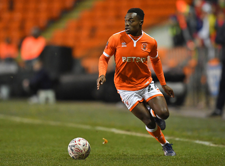 Blackpool's Marc Bola<br /> <br /> Photographer Dave Howarth/CameraSport<br /> <br /> The Emirates FA Cup Second Round Replay - Blackpool v Solihull Moors - Tuesday 18th December 2018 - Bloomfield Road - Blackpool<br />  <br /> World Copyright © 2018 CameraSport. All rights reserved. 43 Linden Ave. Countesthorpe. Leicester. England. LE8 5PG - Tel: +44 (0) 116 277 4147 - admin@camerasport.com - www.camerasport.com