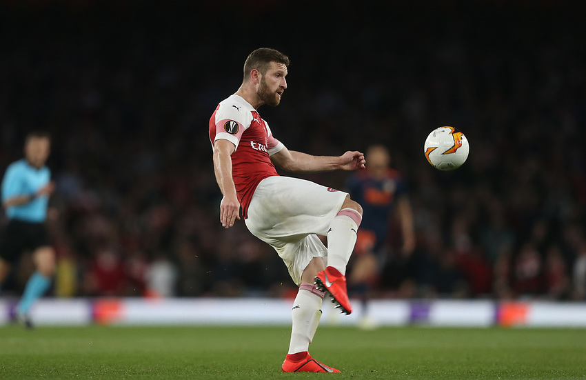 Arsenal's Shkodran Mustafi<br /> <br /> Photographer Rob Newell/CameraSport<br /> <br /> UEFA Europa League Semi-final 1st Leg - Arsenal v Valencia - Thursday 2nd May 2019 - The Emirates - London<br />  <br /> World Copyright © 2018 CameraSport. All rights reserved. 43 Linden Ave. Countesthorpe. Leicester. England. LE8 5PG - Tel: +44 (0) 116 277 4147 - admin@camerasport.com - www.camerasport.com