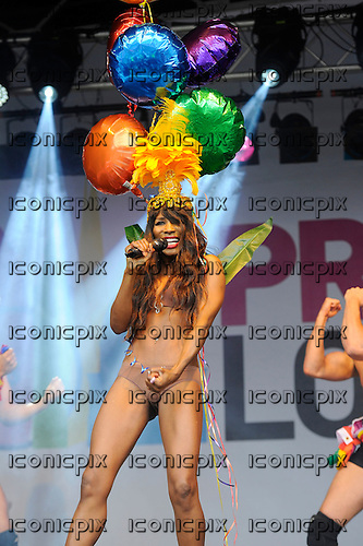 SINITTA - performing live at Pride London in Trafalgar Square London UK - 28 Jun 2014.  Photo credit: Zaine Lewis/IconicPix