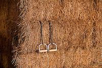Hay hooks in bales of hay