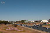 Brasilia, Brazil. Esplanada, Eixo Central, Traffic, Ministries, Congress buildings, cathedral and National Museum.