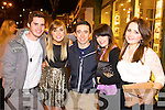 Colm Corrigan, Michelle O'Riordan, William Ahern, Cathy Noonan and Kathleen Fitzgerald pictured at the New Year's Eve, Street Party in Killarney on Tuesday night.