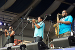 The Soul Rebels performs during the New Orleans Jazz & Heritage Festival in New Orleans, LA.