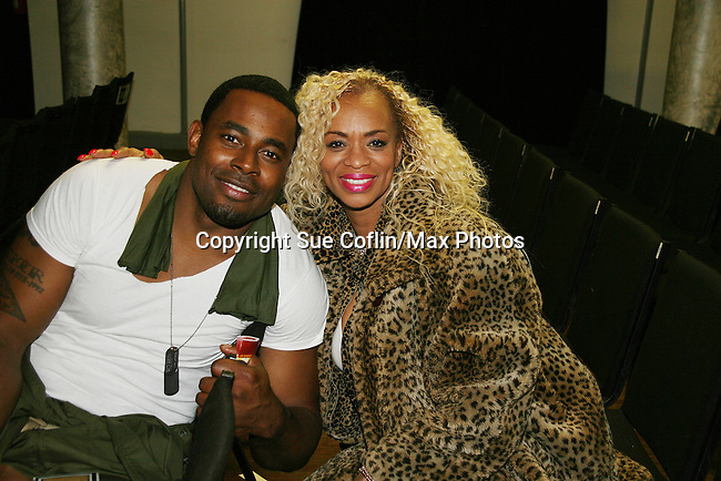 Lamman Rucker poses with Stephanie of ATWT as the Black Angels Over Tuskegee - The Story of the Tuskegee Airmen in an off Broadway play on March 25, 2010 at St Luke's Theate, NYC which has been extended. (Photos by Sue Coflin/Max Photos)