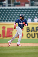 New Hampshire Fisher Cats third baseman Vladimir Guerrero Jr. (27) during the second game of a doubleheader against the Harrisburg Senators on May 13, 2018 at FNB Field in Harrisburg, Pennsylvania.  Harrisburg defeated New Hampshire 2-1.  (Mike Janes/Four Seam Images)