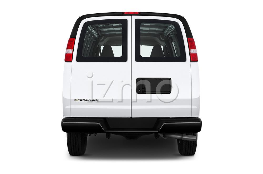 Straight rear view of a 2017 Chevrolet Express 3500 3500 Extended Work Van 4 Door Cargo Van stock images