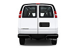 Straight rear view of a 2017 Chevrolet Express 3500 3500 Extended Work Van 4 Door Cargo Van stock images