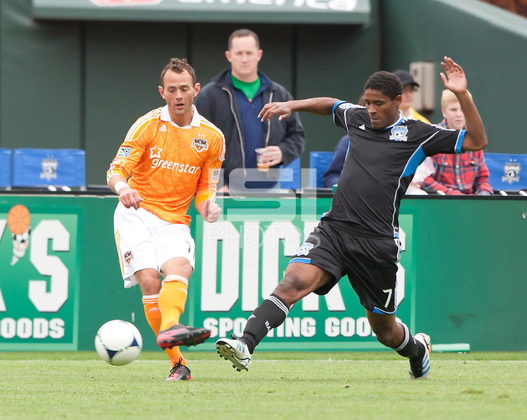 San Francisco, California - Saturday March 17, 2012: Colin Clark and Khari Stephenson during the MLS match at AT&T Park. Houston Dynamo defeated San Jose Earthquakes  1-0