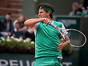 7th June 2017, Roland Garros, Paris, France; French Open tennis championships;  Dominik Theim (AUT) as he beats Novak Djokovic in 3 sets in his quarter final match of the 2017 French Open at Stade Roland-Garros in Paris, France.