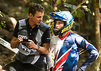 Picture by Alex Broadway/SWpix.com - 09/09/17 - Cycling - UCI 2017 Mountain Bike World Championships - Downhill - Cairns, Australia - Henry Kerr of Great Britain with coach.