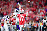 Indianapolis, IN - DEC 1, 2018: Ohio State Buckeyes wide receiver Kamryn Babb (17) catches a pass over Northwestern Wildcats linebacker Paddy Fisher (42) during second half action of the Big Ten Championship game between Northwestern and Ohio State at Lucas Oil Stadium in Indianapolis, IN. Ohio State defeated Northwestern 45-24. (Photo by Phillip Peters/Media Images International)