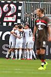 16.03.2019, BWT-Stadion am Hardtwald, Sandhausen, GER, 2. FBL, SV Sandhausen vs FC St. Pauli, <br /> <br /> DFL REGULATIONS PROHIBIT ANY USE OF PHOTOGRAPHS AS IMAGE SEQUENCES AND/OR QUASI-VIDEO.<br /> <br /> im Bild: Andrew Wooten (7, SV Sandhausen) jubelt ueber sein Tor zum 1:0 mit Dennis Diekmeier (SV Sandhausen #18), Rurik Gislason  (#9, SV Sandhausen), Markus Karl (#23, SV Sandhausen) und Jesper Verlaat (#4, SV Sandhausen)<br /> <br /> Foto &copy; nordphoto / Fabisch