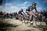 Koen de Kort (NLD/Giant-Alpecin) over sector 6A: Bourghelles &agrave; Wannehain (1.1km)<br /> <br /> 113th Paris-Roubaix 2015