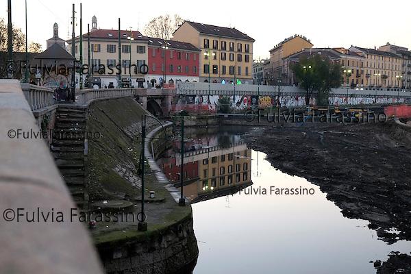 Milano, dicembre 2013 Lavori in corso sulla Darsena. <br /> Work in progress