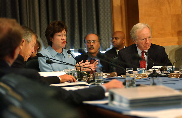 9/22/04.INTELLIGENCE REORGANIZATION--Chairman Susan Collins, R-Maine, and ranking Democrat Joseph I. Lieberman, D-Conn., during the Senate Governmental Affairs markup of legislation that would reorganize the intelligence gathering activities of the federal government..CONGRESSIONAL QUARTERLY PHOTO BY SCOTT J. FERRELL