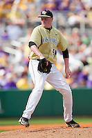 Relief pitcher John McLeod #40 of the Wake Forest Demon Deacons in action against the LSU Tigers at Alex Box Stadium on February 20, 2011 in Baton Rouge, Louisiana.  The Tigers defeated the Demon Deacons 9-1.  Photo by Brian Westerholt / Four Seam Images