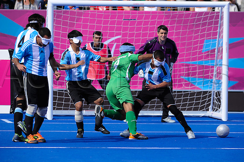 31.08.2012 London, England. Football 5-a-side. Iran vs Argentina. Hossein RAJAB POUR (Iran) in action during Day 2 of the Paralympic from the Riverbank Arena.