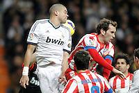Real Madrid's Pepe  against Atletico de Madrid's Diego Godin during La Liga Match. December 02, 2012. (ALTERPHOTOS/Alvaro Hernandez)
