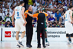 Real Madrid Felipe Reyes and Panathinaikos Kenny Gabriel talking with referee during Turkish Airlines Euroleague Quarter Finals 4th match between Real Madrid and Panathinaikos at Wizink Center in Madrid, Spain. April 27, 2018. (ALTERPHOTOS/Borja B.Hojas)