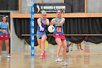 Steel Te Paea Selby-Rickit and Mystics&rsquo; Samon Nathan in action during the Netball Pre Season Tournament - Mystics v Steel at Ngā Purapura, Otaki, New Zealand on Saturday 9 February  2019. <br /> Photo by Masanori Udagawa. <br /> www.photowellington.photoshelter.com