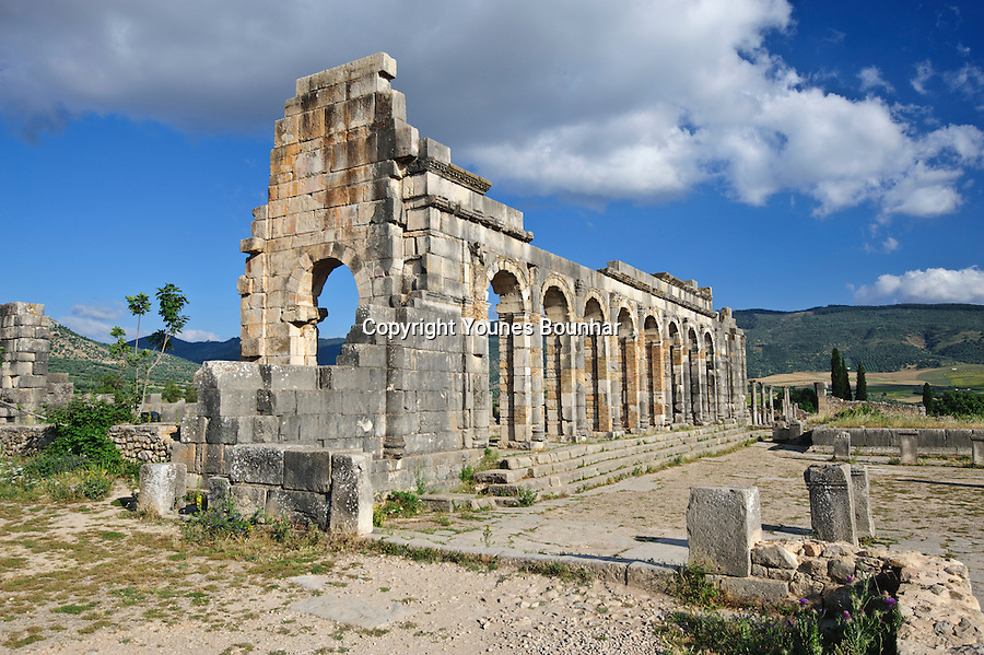 The Roman ruins of volubilis near Fes and Meknes in Morocco