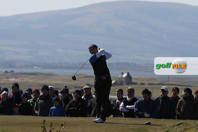 Rory McNamara (Headfort) on the 1st tee during the Final  at the West of Ireland Amateur Open Golf Championship 2013 at Co.Sligo Golf Club, Rosses Point, Co.Sligo. 2/04/2013...(Photo Jenny Matthews/www.golffile.ie)