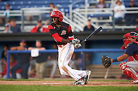 Batavia Muckdogs center fielder Isaiah White (18) at bat during a game against the State College Spikes on June 23, 2016 at Dwyer Stadium in Batavia, New York.  State College defeated Batavia 8-4.  (Mike Janes/Four Seam Images)