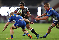 DURBAN, SOUTH AFRICA - MAY 27: Jano Vermaak of the DHL Stormers looks to tackle Garth April of the Cell C Sharks during the Super Rugby match between Cell C Sharks and DHL Stormers at Growthpoint Kings Park on May 27, 2017 in Durban, South Africa. Photo by Steve Haag / stevehaagsports.com