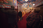 Ringing the bell in celebration at the Christmas Eve Vigil Service, St. Sava Serbian Orthodox Church, Jackson, Calif.