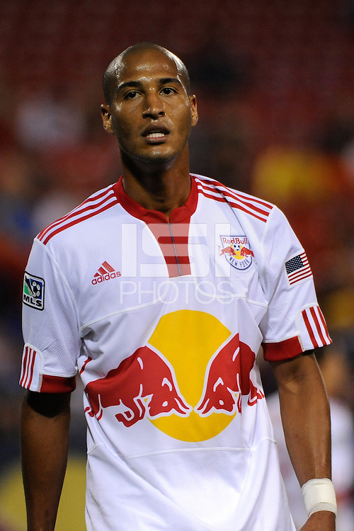 Carlos Johnson (3) of the New York Red Bulls. The New York Red Bulls defeated the Columbus Crew 1-0 during a Major League Soccer match at Giants Stadium in East Rutherford, NJ, on August 30, 2009.