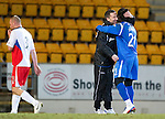 St Johnstone v Inverness Caley Thistle....02.01.11  .Derek McInnes hugs goal scorer Collin Samuel at full time.Picture by Graeme Hart..Copyright Perthshire Picture Agency.Tel: 01738 623350  Mobile: 07990 594431