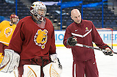 Taylor Nelson (FSU - 29), Dave Cencer (FSU - Strength/Cond/Video Coach)' - The Ferris State University Bulldogs practiced on Friday, April 6, 2012, during the 2012 Frozen Four at the Tampa Bay Times Forum in Tampa, Florida.