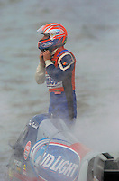 Tim Seebold (#16) is enveloped in smoke and fire suppression mist after is engine caught fire.
