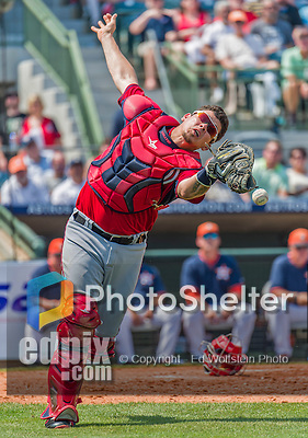 20 March 2015: Washington Nationals catcher Jose Lobaton misses catching a pop foul during a Spring Training game against the Houston Astros at Osceola County Stadium in Kissimmee, Florida. The Nationals defeated the Astros 7-5 in Grapefruit League play. Mandatory Credit: Ed Wolfstein Photo *** RAW (NEF) Image File Available ***