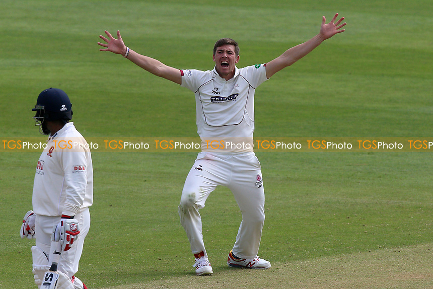 Jamie Overton of Somerset with an appeal for a wicket during Somerset CCC vs Essex CCC, Specsavers County Championship Division 1 Cricket at The Cooper Associates County Ground on 15th April 2017