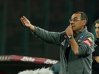 Maurizio Sarri  during the  italian serie a soccer match,between SSC Napoli Sassuolo       at  the San  Paolo   stadium in Naples  Italy , November 28, 2016