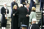 Washington, DC - January 20, 2001-- Former Vice President Al Gore with wife Tipper, and Dick Cheney and wife Lynne shake hands after decending the East Front steps of the United States Capitol after the swearing-in ceremony for United States President George W. Bush..Credit: Ron Sachs / CNP