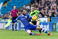 Sheffield Wednesday v Huddersfield Town, 14.1.2017<br /> <br /> EFL Sky Bet Championship<br /> Picture Shaun Flannery/Trevor Smith Photography<br /> <br /> Wednesday's Steven Fletcher halts the attack of Huddersfield's Jack Payne.