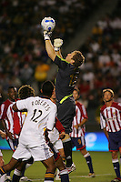 CD Chivas USA Goal Keeper Brad Guzan (18) punches away a crossed ball late in the second half. CD Chivas USA defeated the LA Galaxy in the Super Clasico 3-0 at the Home Depot Center in Carson, CA, Thursday, September 13, 2007.