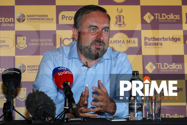 Bradford City Joint chairman Edin Rahic during Bradford City Press Conference as Bradford City appointment David Hopkin as head coach at the Northern Commercial Stadium, Bradford, England on 6 September 2018. Photo by Thomas Gadd.