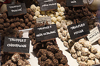 Belgium, West-Flanders, Bruges: Display of Belgian chocolate truffles